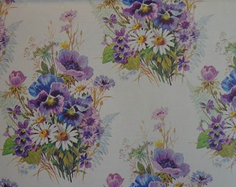 Vintage Wrapping Paper 1970s Gift Wrap Floral Print- 1 Sheet All Occasion Gift Wrap Paper Purple Pansies
