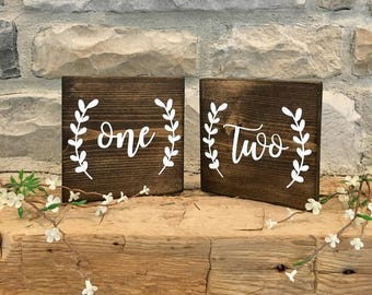Set of 20 Wedding Table Number Signs, Rustic Wedding Signs, Wedding Decor, Wedding Table Signs
