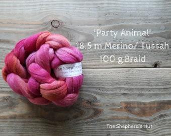 Merino / Tussah Silk hand dyed braid 'Party Animal' 100 g  3.5 oz