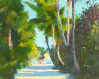Oil Painting, Tropical Palms, 6x9, Oil on Canvas Panel Landscape Painting