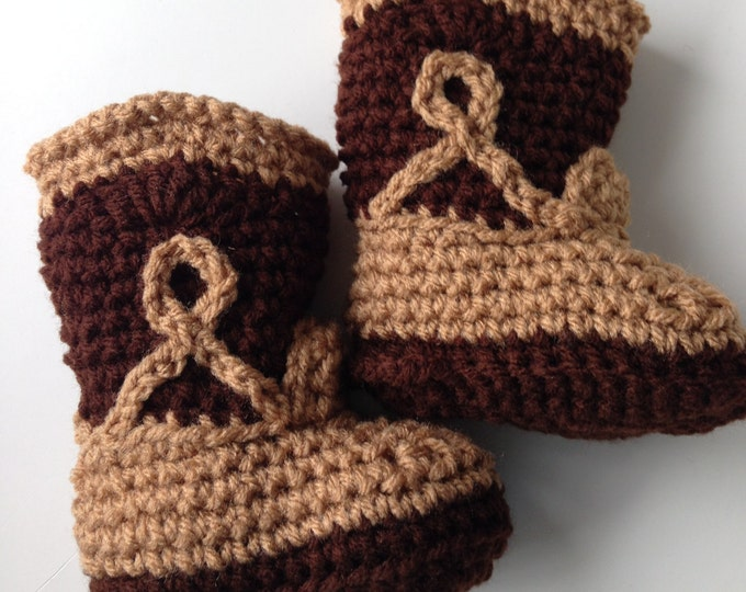 Cowboy Booties - Baby Cowboy - Photo Props - Baby Shoes - Handmade Crochet - Made to Order