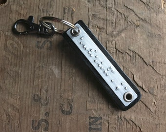 Personalized Braille keychain Personalized Leather keyfob Custom Braille Message