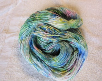 "100% Alpaca -Speckle Dyed by Hand ""Northern Lights""  - 3 Ply DK Weight Yarn - 250 Yds - 12-14 WPI"