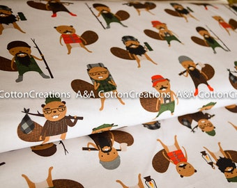Campsite Critters Cotton EARTH 17621-169 by Andie Hanna, Burly Beavers Fabric, Grey Fabric, Hipster fabric, Boy Fabric, by yardage