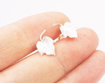 Sterling Silver Leaf Stud Earrings, Nature Earrings, Silver Earrings, Leaf Studs, Silver Jewelry, Tree Jewelry, Flower Jewelry, Leafs,