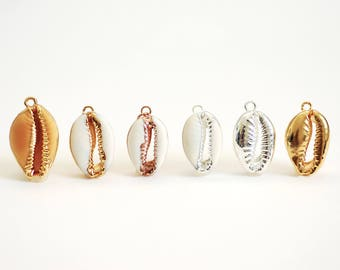 Real Natural Cowrie Shell, Gold, Sterling Silver, Rose Gold, gold dipped shell pendant, Cowrie shell pendant charm, Cut Cowrie Shell Beads