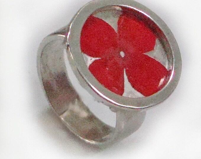 Red Verbena/sterling silver ring
