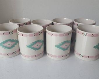 8 Meiwa Table Art Mew2 Native American Aztec Tea/Coffee Mugs China