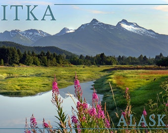Sitka, Alaska - Mountain Wilderness and Fireweed (Art Prints available in multiple sizes)