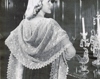 Vintage Crocheted Lace Stole Pattern / Woman's romantic shawl pattern / Mad Men shawl  / Crocheted shawl pattern