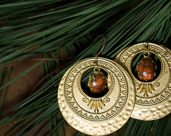 CLEARANCE Aurora, Goddess of Dawn Earrings - Big Gold Discs and Orange Copper Turquoise - Yugen Wild Heart Collection, Bohemian Earrings
