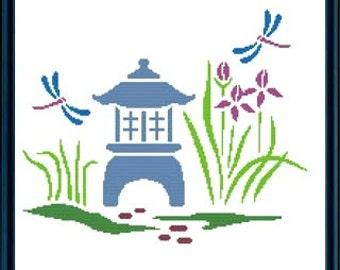 Japanese Garden Cross Stitch Pattern