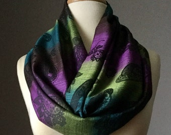Brown / Purple / Teal  scarf, infinity scarf, pashmina scarf, fall scarf, ombre scarf, gradient scarf