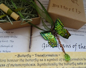 Crystal Butterfly Necklace~ Green Flash