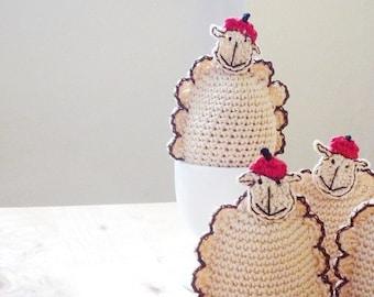 Sheep Cozy - Sheep Warmers - Sheep Egg Cozy - Crochet Sheep - Lamb Warmers - Set of 4 - Kitchen Decor - Farmhouse Decor - Gift for Her