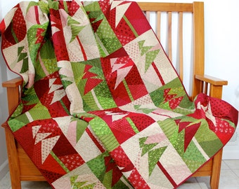 RESERVED for BRENDA - Christmas Art Quilt - Wall Hanging - Modern Holiday Trees CIJ