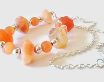 Orange Chalcedony Necklace Orange Gemstone Jewellery Chalcedony Gemstone Necklace Tangerine Jewelry Tangerine Necklace Gift For Her