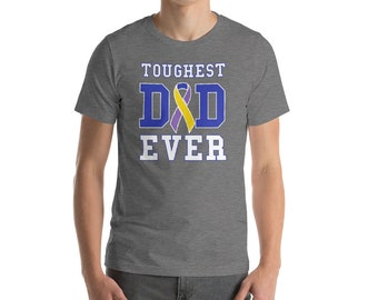 Toughest Dad Ever Tee Shirt - Bladder Cancer Aware - Cancer Patient Gift - Survivor Support Awareness Ribbon - Fathers Day Gift for Dad T-Sh
