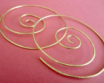 Medium Hoop Earrings . NOTSO THINNI 45mm . with hammered surface in 20 gauge Brass Wire . Free Shipping Item .  Ask a question
