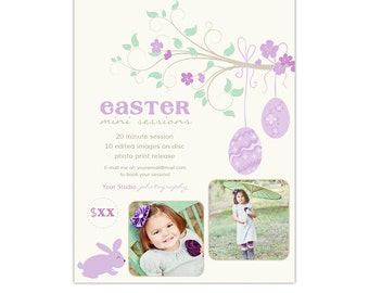 Easter Photography Marketing Board Template for Mini Sessions - Easter Egg Tree - INSTANT DOWNLOAD