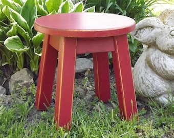 "Reclaimed wood/ painted/ round stool/ step stool/ foot stool/ painted/ riser/ 8 - 10"" 12""H"