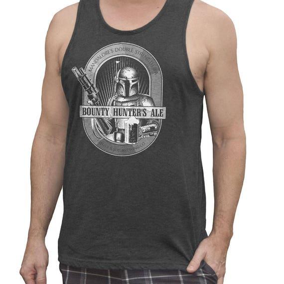 Star Wars Shirt - Mens Boba Fett Bounty Hunter Ale Hand Screen Printed on a Mens Tank Top. Mens Craft Beer Shirt - Mens Workout Tank