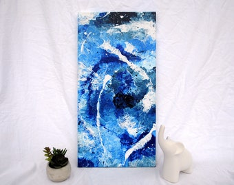 Original Blue Abstract Acrylic Painting on Canvas