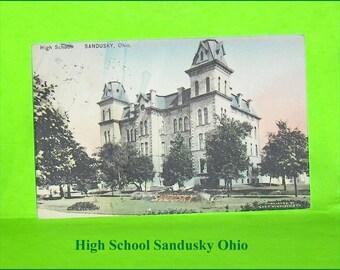 Vintage Postcard High School Sandusky Ohio United States