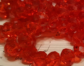 Glass Beads - 30 pcs. - Red Faceted Beads -  10mm x 7mm Beads -  Red Glass Beads - Red Rondelle Beads