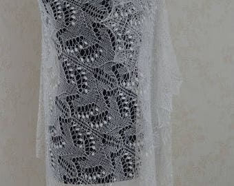 Hand knitted Wedding Shawl, traditional Estonian lace, heirloom, Haapsalu shawl with nupps, soft cobweb merino MADE TO ORDER