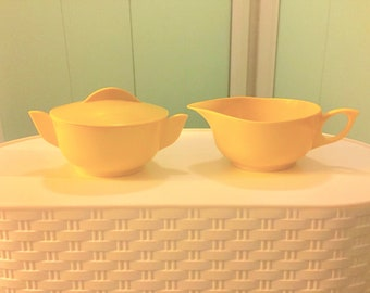 Vintage Melmac Sugar and Creamer Set by Miramar, Yellow #106 & #107, Melamine, Mid Century Plastic