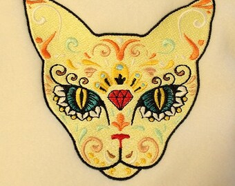 Sugar Skull Cat Machine Embroidery Design - 5x7 Hoop - Animal Embroidery - Cat Embroidery - Instant Download