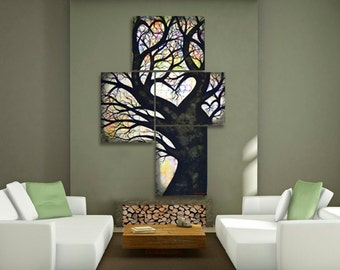 EXTRA LARGE Tree Painting On Canvas of Heart Tree of Life -  Huge Modern Contemporary Colorful Abstract Oak Tree Silhouette Large Wall Art
