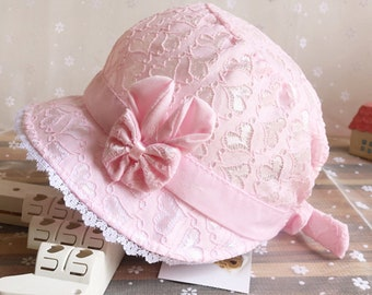 Beanie baby christening, baby pink bonnet, baby baptism accessory, girl baptism, lace Hat Cap