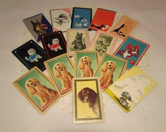 Lot of 15 Vintage Playing Swap Cards, Various dog breeds, Trading, Scrapbooking, paper ephemera, dogs