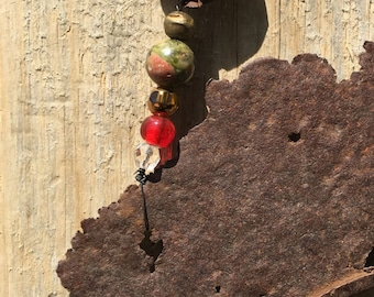 Found Objects, Repurposed Objects, Hanging Sculpture, Mobile, Rusted Can, Rusted Bottle Caps, Chandelier Glass Pendants, Glass & Metal Beads