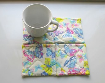 pastel butterflies hand quilted set of mug rugs coasters