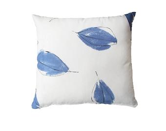 Blue Leaves Pillow Cover Blue White