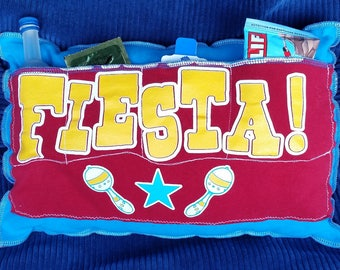 Fiesta-Upcycled Safe-Sex Pillow, w/ Condom & Lube Pockets, OOAK, red, blue, yellow, tequila, Mexico, Spanish, cactus, coyote