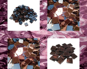 Aurora Rose Squares Silvercoat Stained Glass Mirror Mosaic Tiles Purple Waterglass