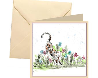 Cat greetings card, blank card, greetings card, birthday card, note card, thank you card, cat thank you card, cat card