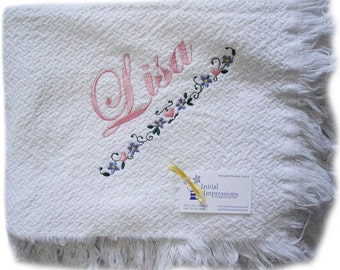 White Cotton Throw Blanket Made from Recycled Cotton Fiber and Embroidered and Personalized