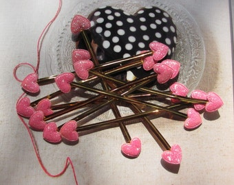 30 Sparkling Pink Heart ,Cello Bag Twist Tie