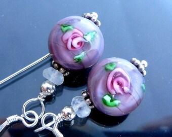Victorian Lavender Rose Earrings in sterling silver lampwork glass rainbow moonstone discs pink flowers OOAK jewelry