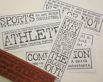 rubber stamp - YOUR CHOICE - SPORTS inspired phrases, inspirational, athletics - cling mount red rubber - used rubber stamps