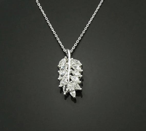 Laurel Leaves Necklace, Sterling Silver, Lab Diamonds Simulant, Fine Jewelry, Laurel Leaf Branch Charm, Unique Gifts for Her, Women