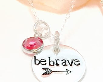 Be Strong Hand Stamped necklace-inspirational necklace-cancer survival  necklace-loss of a child Necklace-runners Necklace