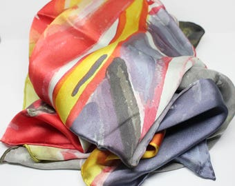 Silk*Scarf*Designer*Accessory*Fashion*90x90cm*Print*FineArtOilPainting*LuxuryItem*Gift*Colorful*Contemporary*HandHemming*Satin