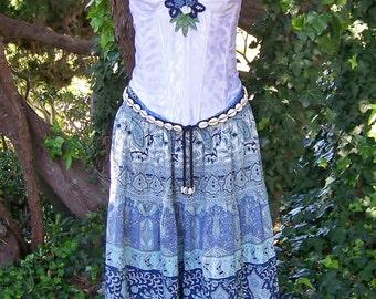 Corset Dress, Strapless dress, Gypsy dress, Festival Dress, Blue Summer dress,  size M / 36 B