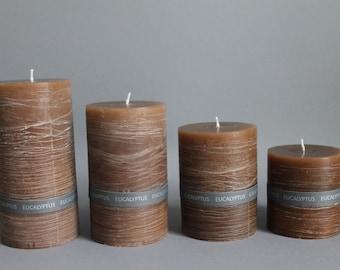 EUKALYPTUS Duft & Rustic Stumpen Kerze handgefertigt durchgefärbt in 4 Größen